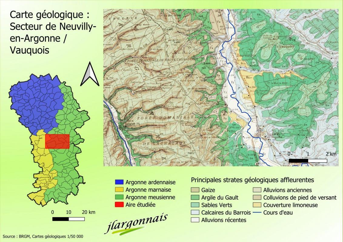 Carte geologique simplifiee de l argonne